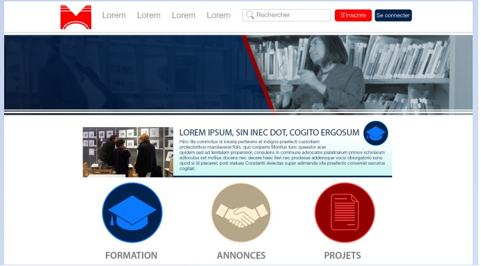 projet graphique de la page d'accueil